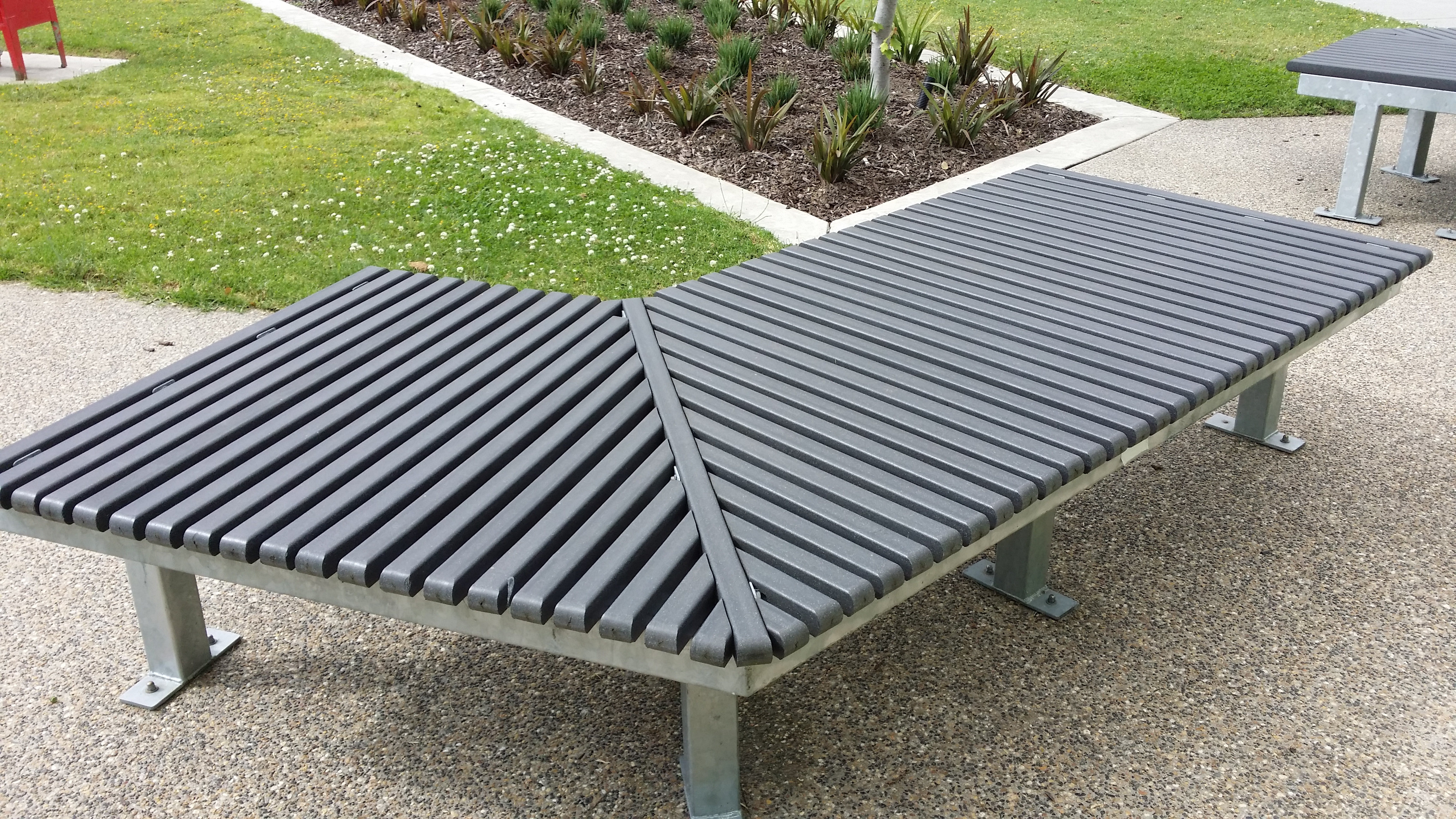 terrace cast grand bench recycled backless patio gesgrndtrrcebcklsbnchset plastic gensun set zm benches aluminum benche product metal