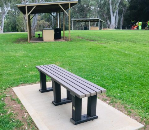 Eco Bench with Brown Slats