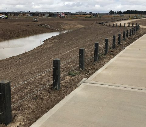WPC Post and Wire Bollard Fencing